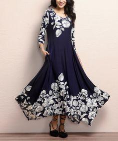 09424dc89f Look at this  zulilyfind! Navy Floral Handkerchief Maxi Dress by Reborn  Collection  zulilyfinds