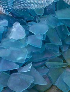 Sky Blue Frosted Sea Glass - Beach Glass - Manufactured Glass - Beach decor