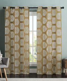 This Gold Mayra Metallic Print Curtain Panel - Set of Two is perfect! #zulilyfinds