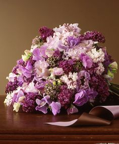 lush purple wedding bouquet with ruffly sweet peas, lilacs, lamb's ear, oregano blossoms and lisianthus Lilac Bouquet, Bridal Bouquet Fall, Purple Wedding Bouquets, Lilac Wedding, Wedding Colors, Bouquet Flowers, Wedding Ideas, Bouquet Viola, Bridal Bouquets