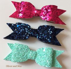 3 Pack Glitter Bow Clips Pink Navy and Mint Hair by OliverAndMay
