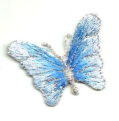 BUTTERFLY BLUE/MET SILVER EMBROIDERED IRON ON APPLIQUE