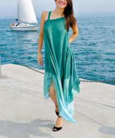 Costa Rica Green Flowing Goddess Sleeveless Dress