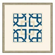 """Art print with a blue and white fretwork motif.        Product: Art print     Construction Material: Wood and paperColor: Pewter frame Features: Made in the USANeedle point reproduction of of interlocking forms     Dimensions: Unframed: 10"""" H x 10"""" WFramed: 18"""" H x 18"""" W"""