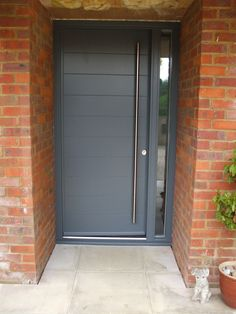 The Meaning Of Front Door Colors In A Modern Home Exterior . Contemporary Doors From The Door Store Quality . Home and Family Front Door Porch, Grey Front Doors, Modern Front Door, Front Door Decor, House Front, Door Design, Exterior Design, Contemporary Front Doors, External Doors
