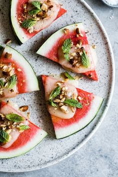Charred Watermelon Cheese Wedges with Mint Easy Summer Appetizer: Charred watermelon wedges topped with melted cheese, roasted almonds, and fresh mint Watermelon Recipes, Fruit Recipes, Summer Recipes, Appetizer Recipes, New Recipes, Salad Recipes, Vegetarian Recipes, Appetizers, Healthy Recipes