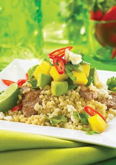 Cumin Pork Millet Bowl with Avocado and Mango from Everyday Gluten Free