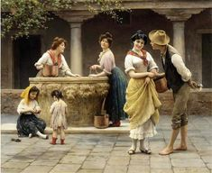 Gossiping-at-the-well : Eugene von Blaas (1843 – 1931, Italian-born Austrian)