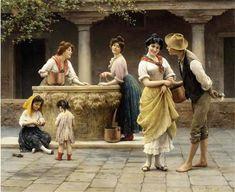 Gossiping-at-the-well : Eugene von Blaas (1843 – 1931, Italian-born Austrian)