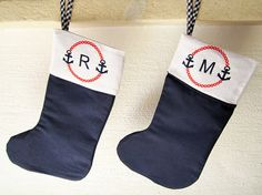 Decorate your home , boat or beach house this Christmas with these adorable nautical stocking. The stocking is lined with 100% cotton fabric and features a ribbon for hanging. It is 14 long from the toe to the opening, and 6 wide. Perfect for hiding small gifts and sweet surprises!