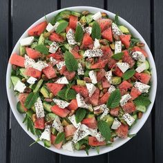 Vandmelonsalat Food N, Food And Drink, Waldorf Salat, Healthy Cooking, Healthy Eating, Norwegian Food, Vegetarian Recipes, Healthy Recipes, Food Goals