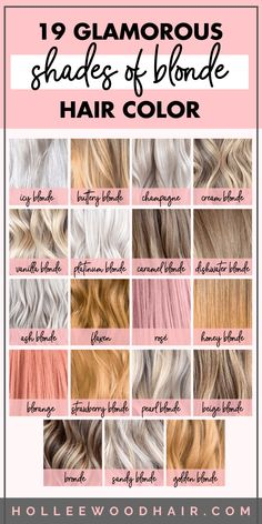 Blonde Highlights Discover 10 Different Shades of Blonde Hair Color Do you know the difference between ash blonde and platinum blonde? Use this guide to learn about the different shades of blonde hair color. Ash Blonde Ombre Hair, Blonde Hair Shades, Blonde Hair Looks, Golden Blonde Hair, Balayage Hair, Wavy Hair, Carmel Blonde Hair Color, Blonde Short Hair, Medium Ash Blonde Hair