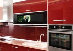 contemporary kitchen cabinets with built in tv
