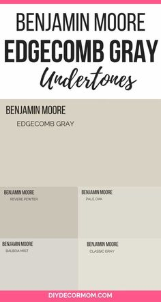 edgecomb gray undertones- see the undertones of benjamin moore edgecomb gray plus how it compares to revere pewter, balboa mist, classic gray, and pale oak Kitchen cabinets? Benjamin Moore Edgecomb Gray, Benjamin Moore Classic Gray, Benjamin Moore Paint, Benjamin Moore Balboa Mist, Ballet White Benjamin Moore, Collingwood Benjamin Moore, Interior Paint Colors For Living Room, Bedroom Paint Colors, Design Offices