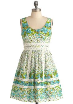 Garden Waltz Dress - Mid-length, Casual, Lace, Pleats, A-line, Sleeveless, Green, Blue, Grey, White, Floral, Spring from ModCloth