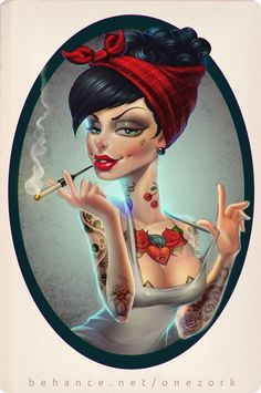 that tattooed girl by Nestor David Marinero Cervano, via Behance