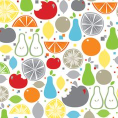 Khristian A Howell - Fruit Slice - Fruit in White (great for aprons or dish towels!)