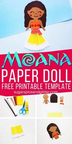A super simple Disney craft for kids, this Moana Paper Doll can be used to make your own puppets or add to a pretty Moana birthday card. Use our free printable template to make your own! Disney Crafts for Kids Disney Crafts For Kids, Paper Crafts For Kids, Disney Diy, Easy Crafts For Kids, Disney Ideas, Paper Doll Template, Paper Dolls Printable, Hawaiian Crafts, Hawaiian Luau