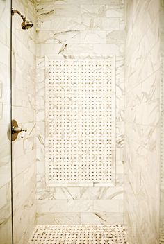 Home, Sweet Renovation - The master bath is the perfect mix of old and new: the shower Stephen designed includes classic marble tiles used years ago, offered in today's scale.