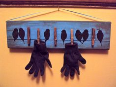 My new mitten and glove dryer for this winter. Raided the basement for scrap wood, and I could only find 5 clothes pins. lol Hanging right over a vent, so hopefully Hunter's things will actually dry this winter. Cottage In The Woods, Antique Market, New Crafts, Winter Fun, Getting Organized, Diy Home Decor, Diy Projects, Crafty, Find 5