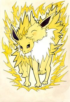 Jolteon Eeveelution Watercolor Wall Art, Cute Pokemon Art Print, Gift for Pokemon Fan, Pokemon Wall Decor, Pokemon Decoration, Geeky Gift by MariaOglesbyArt on Etsy