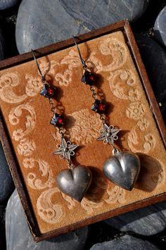 STERLING SILVER HEART Earrings. Garnet by HallowedAdornments