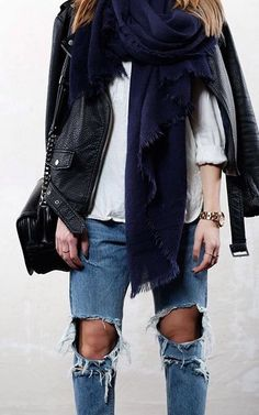 scarf, leather, ripped denim New Mode, Mode Décontractée, Fashion Tendance,  Looks a5fe9175536a