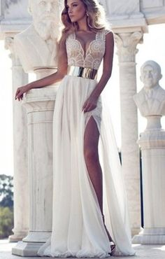 White Patchwork Lace Plunge Side Slits Dress