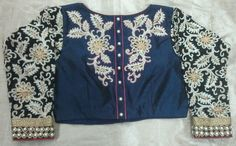Rawsilk blouse with back high neck with thread work with full hands thread work georget 7702919644