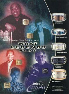 2000 Print Ad of Yamaha Signature Snare Drums Roy Haynes Steve Gadd Akira Jimbo | eBay David Silveria, David Garibaldi, Steve Gadd, Matt Cameron, Snare Drum, Gretsch, Drum Kits