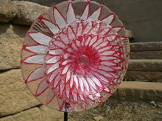 """white with red outline glass garden flower (7.5"""")  SOLD  This was the first one that I sold..my inspiration to make more"""