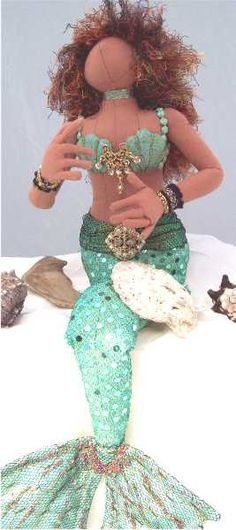 African American Cloth Doll Mermaid by by paintedthreads2 on Etsy,   SOLD