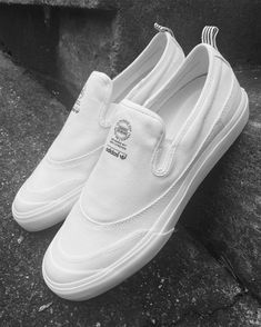 - @adidasskateboarding 'Matchcourt Slip' (white/white/white) - #exdsWALL Shoes Sneakers, Sneakers Fashion, Fashion Shoes, Mens Fashion, Adidas Shoes, White Tennis Shoes, White Shoes, Sneaker Games, Casual Shoes