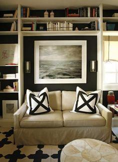 Black background with white shelves