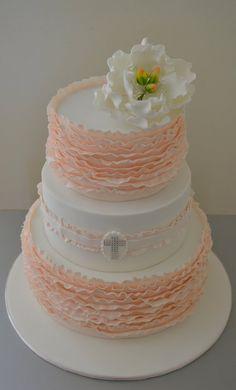 ruffled christening cake - by Sue Ghabach @ CakesDecor.com - cake decorating website