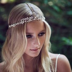 Crystal and pearls vine built intO a crystal halo finished with ties with tassels in its ends. // style: WREN bohemian bridal headpiece
