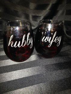 Hubby and Wifey Wine Glass Stemless Wine Glass by decadentdesigns, $22.00