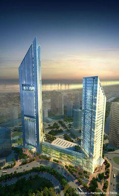 VietinBank Business Center Office Tower, Hanoi, Vitennam by Foster + Partners :: 68 floors, height 363m