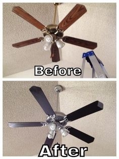 Here's how. Ceiling Fan Makeover, Ceiling Fan Redo, Ceiling Fan Blades Ideas, Bedroom Ceiling Fans, Ceiling Fan Blade Covers, Living Room Ceiling Fan, Bedroom Fan, White Ceiling Fan, Gold Ceiling