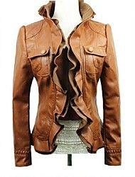 Women's Street Style PU Leather Long Sleeved Motorcycle Coat