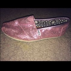 Pink sparkly Toms Gently used TOMS Shoes Flats & Loafers
