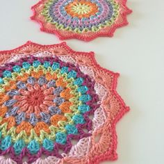 A pair of Crochet Mandala Table Mats Crochet by SewHappyCreative