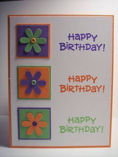 by Purple Pansy – Cards and Paper Crafts at Splitcoaststampers Happy Birthday! by Purple Pansy – Cards and Paper Crafts at Splitcoaststampers Homemade Birthday Cards, Homemade Greeting Cards, Making Greeting Cards, Greeting Cards Handmade, Homemade Cards, Bday Cards, Kids Birthday Cards, Birthday Greeting Cards, Birthday Greetings