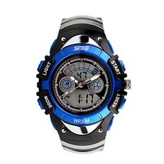 Skmei Brand Children Watches LED Digital Quartz Military Sport Watch For Boy and Girl StudentBlue -- To view further for this item, visit the image link.(This is an Amazon affiliate link)