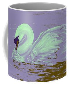 Swan Coffee Mug featuring the painting Swan Dream by Faye Anastasopoulou Fusion Art, Ocean Scenes, Mugs For Sale, My Themes, Basic Colors, Artist At Work, Color Show, Swan, Colorful Backgrounds