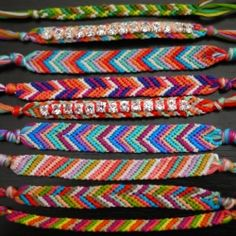 Classic chevron and striped friendship bracelets.