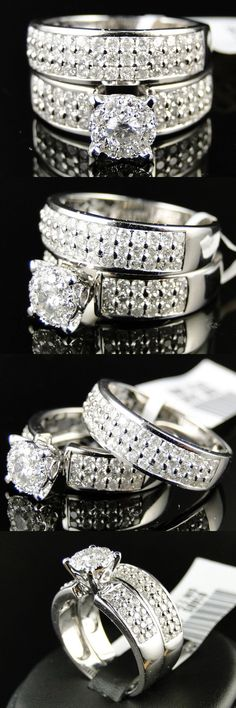 Wedding rings: 14K Womens White Gold Round Cut Engagement Wedding Band Bridal Ring Set 1.5 Ct -> BUY IT NOW ONLY: $125 on eBay!