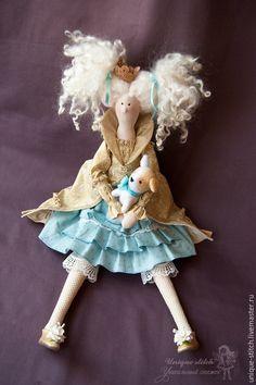 Купить Тильда Принцесса Сесиль. Текстильная кукла - золотой, голубой цвет, тильда кукла, принцесса