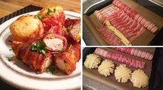 Low Carb Rezept für Hähnchen-Bacon-Rolle mit Gemüse und überbackenen Tomaten. Wenig Kohlenhydrate und einfach zum Nachkochen. Super für Diät/zum Abnehmen.