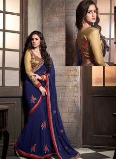 Dark Blue Wedding Wear Saree  Visit: http://www.indiansareestore.in/sarees/designer-sarees